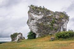 Polish Jura region. Limestone rock next to Mirow Castle in Polish Jurassic Highland, Silesia region in Poland royalty free stock photography