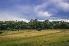 Polish Jura region. Polish Jurassic Highland, Silesia region in Poland - Ogrodzieniec Castle ruins on background stock image