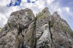 Polish Jura region. Rock formation of Polish Jurassic Highland, Silesia region in Poland near Ogrodzieniec Castle royalty free stock photos