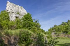 Polish Jurassic Highland. Hilly landscape with Jurassic limestone rocks Stock Photography