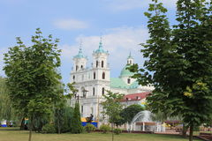 Polish kostel in Grodno. Big Polish kostel in Grodno with green trees Stock Images