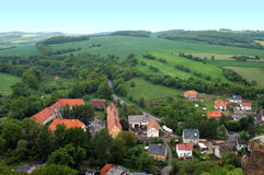 Polish landscape. Poland, view from Bolkow castle. Bolkow town surrounded by hills, meadows and trees Stock Images