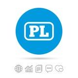 Polish language sign icon. PL translation. Polish language sign icon. PL translation symbol with frame. Copy files, chat speech bubble and chart web icons Stock Photo