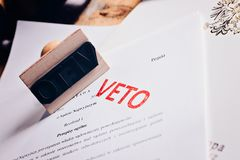 Polish law act with red veto stamp. Stock Images