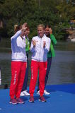 Polish Magdalena Fularczyk-Kozlowska and Natalia Madaj with Olympic gold medals Royalty Free Stock Images