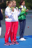 Polish Magdalena Fularczyk-Kozlowska and Natalia Madaj with Olympic gold medals Royalty Free Stock Photography