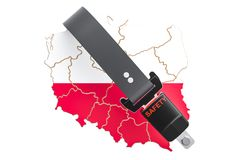 Polish map with safety belt. Security and protect or insurance c Royalty Free Stock Images