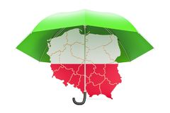 Polish map under umbrella. Security and protect or insurance con Royalty Free Stock Photo