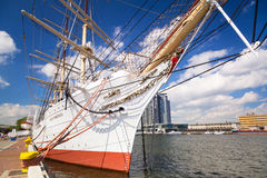 Polish maritime museum ship Dar Pomorza at the Baltic Sea Royalty Free Stock Photography