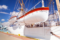 Polish maritime museum ship Dar Pomorza at the Baltic Sea Stock Photo