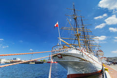 Polish maritime museum ship Dar Pomorza at the Baltic Sea in Gdynia Royalty Free Stock Photos