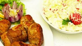 Polish meatballs and a salad Stock Photo