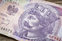 Polish medieval king on banknote Royalty Free Stock Photography