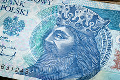 Polish medieval king on banknote Stock Photography