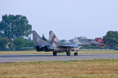 Polish Mig-29 piloted by Cpt. Adrian Rojek on Radom Airshow, Poland Stock Photos