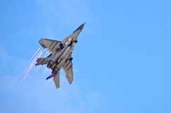 Polish Mig-29 piloted by Cpt. Adrian Rojek on Radom Airshow, Poland Royalty Free Stock Photo
