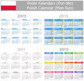 2015 Polish Mix Calendar Mon-Sun. On white background Stock Photos