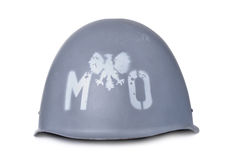 Polish MO (citizens militia) helmet isolated on white Royalty Free Stock Photo