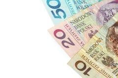Polish money. Polish zloty banknotes in ten, twenty and fifty isolated on white background Royalty Free Stock Photo
