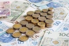 Polish money with arrow Royalty Free Stock Photo