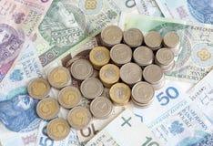 Polish money with arrow Stock Photos