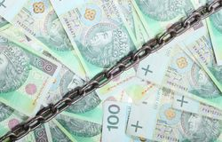 Polish money as background chain for security investment Royalty Free Stock Photography