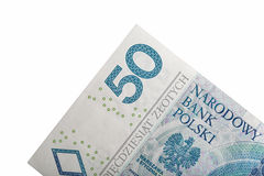 Polish money bill fifty zloty macro  on white Royalty Free Stock Images