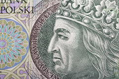Polish money bill one hundred zloty macro. With portrait of King of Poland Wladyslaw II Jagiello Stock Images