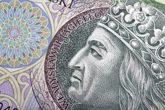 Polish money bill one hundred zloty macro. With portrait of King of Poland Wladyslaw II Jagiello Royalty Free Stock Image