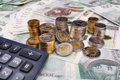 Polish money and calculator Stock Images
