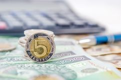 Polish money close up business composition Royalty Free Stock Photos