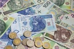 Polish money coins and banknotes Royalty Free Stock Photos