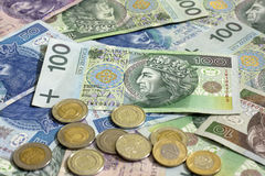 Polish money coins and banknotes Royalty Free Stock Images