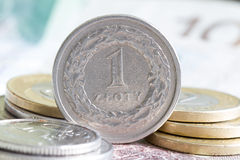 Polish money coins macro Stock Image