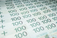Polish money. In denominations of 100 zloty PLN Stock Photography