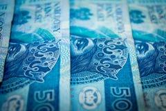 Polish money, fifty Polish zloty. Blue banknotes stock photos