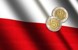 Polish money on the flag. Abstract illustration royalty free stock photo