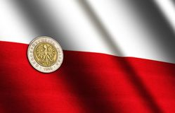Polish money on the flag. Abstract illustration stock photo
