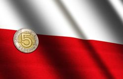 Polish money on the flag. Abstract illustration royalty free stock photography