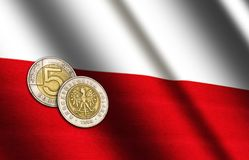 Polish money on the flag. Abstract illustration royalty free stock image