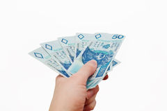 Polish money in hand. Isolated Stock Image