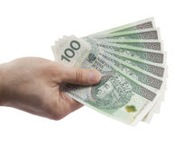 Polish money in hand isolated on white Stock Photography