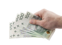 Polish money in hand isolated on white Royalty Free Stock Images