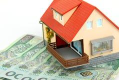 Polish money on house Royalty Free Stock Image