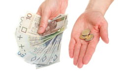 Polish money isolated in hand Royalty Free Stock Photography