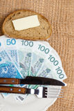 Polish money on kitchen table, coast of living Stock Images