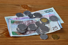 Polish money laying on a table. PLN banknotes and coins Royalty Free Stock Image