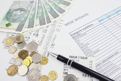 Polish money. Located next to the list of expenses Stock Image