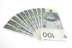 Polish money one thousand. Polish money stacked on a white background Royalty Free Stock Image