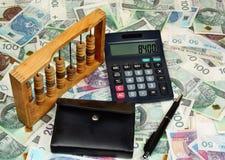 Polish money, pen, wallet, abacus Stock Photography